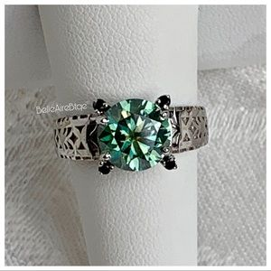 Other - 4.50 Carat VVS1 Caribbean Blue Moissanite Ring Sz9